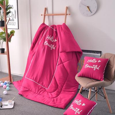 2020新款水洗棉刺绣抱枕被 40X40展开105*150 嫣红