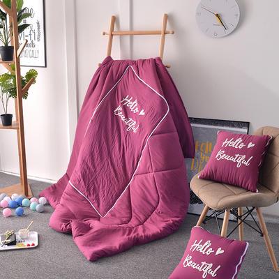 2021新款水洗棉刺绣抱枕被 50X50展开150*195 紫色