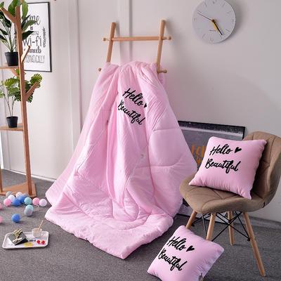 2021新款水洗棉刺绣抱枕被 50X50展开150*195 浅粉