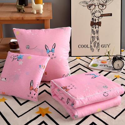 优舒绒印花抱枕被系列 小号(40*40展开100*150cm) 蝴蝶兔