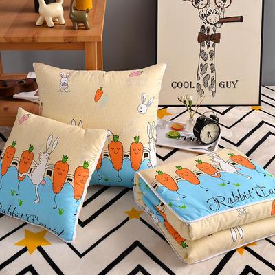 优舒绒印花抱枕被系列 小号(40*40展开100*150cm) 萝卜兔