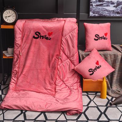 2020新款-水晶绒抱枕被 小号40*40展开105*150有绗缝 刺绣豆沙