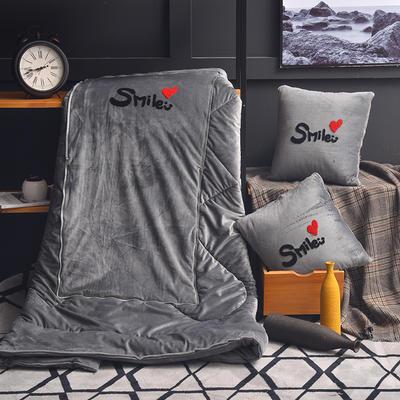 2021新款-水晶绒抱枕被 大号50*50展开150*190有绗缝 刺绣灰色