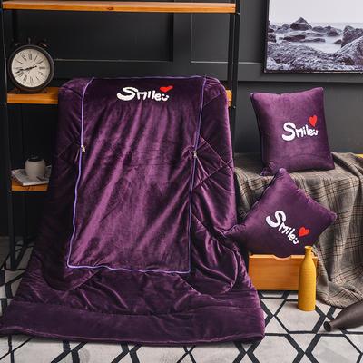 2021新款-水晶绒抱枕被 大号50*50展开150*190有绗缝 刺绣深紫