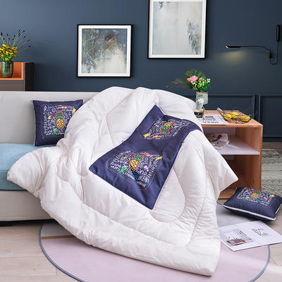 2019新款-3D麻布抱枕被 小号40x40展开100*150 菠萝
