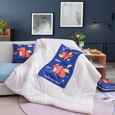 2020新款-3D麻布抱枕被 小号40x40展开100*150 红色狐狸