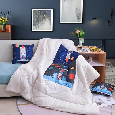 2019新款-3D麻布抱枕被 小号40x40展开100*150 火箭