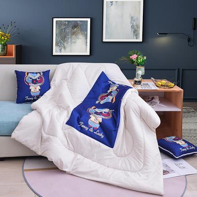 2020新款-3D麻布抱枕被 小号40x40展开100*150 可爱猫头鹰