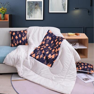 2020新款-3D麻布抱枕被 小号40x40展开100*150 树林