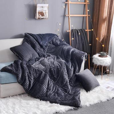 2020新款-魔法绒双拼抱枕被 小号40*40展开105*150 魔法绒灰色