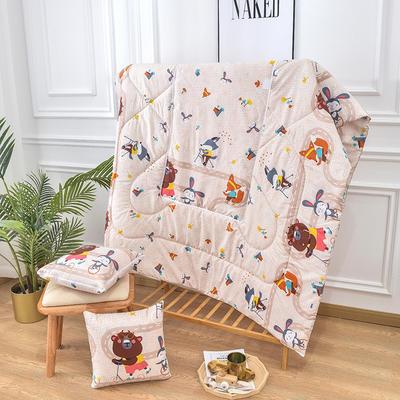 2020新款优舒绒印花抱枕被系列 小号(40*40展开100*150cm) 骑车小熊