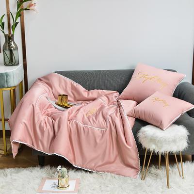 2021新款-轻奢刺绣花边款抱枕被 外围50展开150*190有绗缝 豆粉色