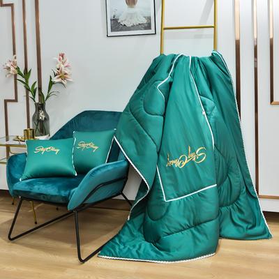2021新款-轻奢刺绣花边款抱枕被 外围50展开150*190有绗缝 翡翠绿