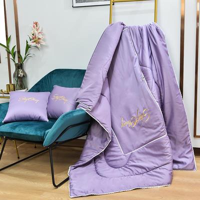 2021新款-轻奢刺绣花边款抱枕被 外围50展开150*190有绗缝 浅紫色