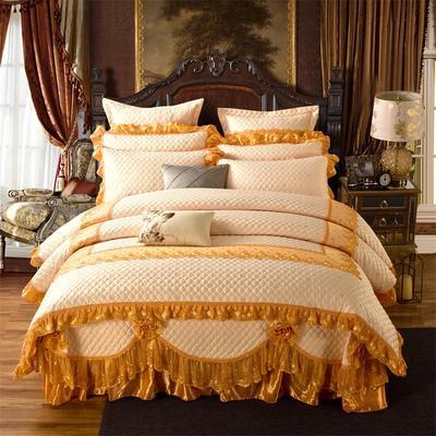 高档奢华欧式全绗缝夹棉床盖(巴黎舞曲)四件套婚庆六件套 三件套 橙色