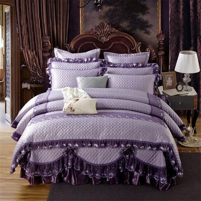 高档奢华欧式全绗缝夹棉床盖(巴黎舞曲)四件套婚庆六件套 三件套 魅力紫
