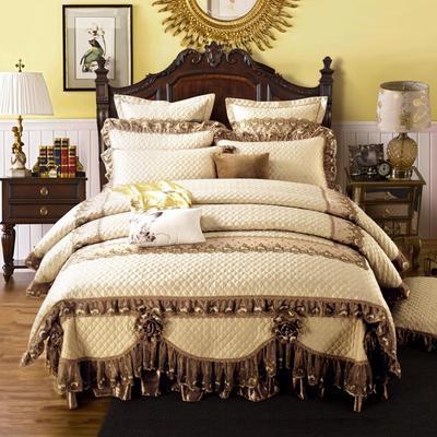 高档奢华欧式全绗缝夹棉床盖(巴黎舞曲)四件套婚庆六件套 三件套 驼色