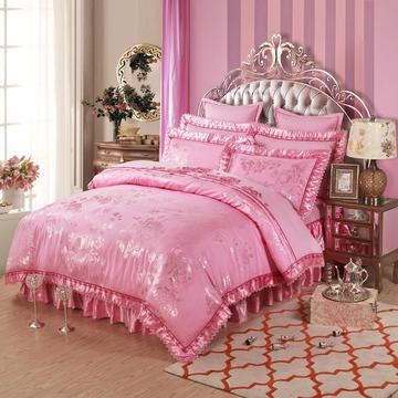 欧式全棉贡缎提花天丝加棉绗缝床盖床笠床裙款四件套