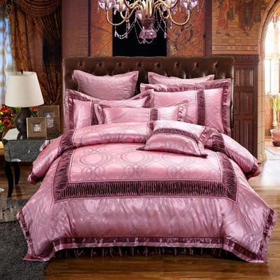 欧式贡缎提花床盖夹棉拉链可拆卸床裙款四件套婚庆六件套 标准(1.5m床)四件套 奥莉薇娅