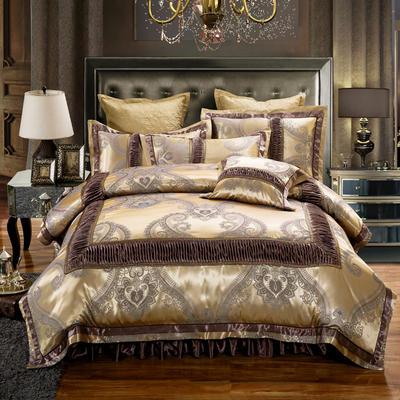 欧式贡缎提花床盖夹棉拉链可拆卸床裙款四件套婚庆六件套 标准(1.5m床)四件套 别样情怀