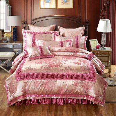 欧式贡缎提花床盖夹棉拉链可拆卸床裙款四件套婚庆六件套 标准(1.5m床)四件套 华庭颂歌