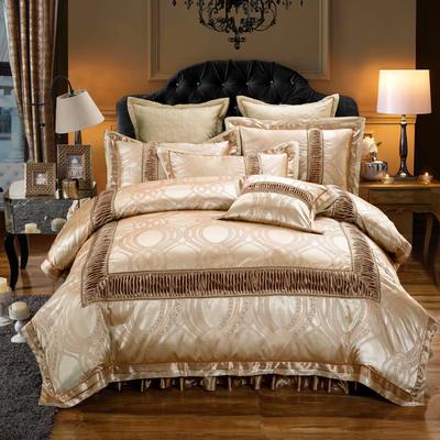 欧式贡缎提花床盖夹棉拉链可拆卸床裙款四件套婚庆六件套 标准(1.5m床)四件套 金杯琉璃