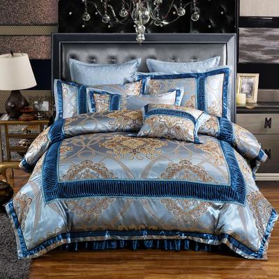 欧式贡缎提花床盖夹棉拉链可拆卸床裙款四件套婚庆六件套 标准(1.5m床)四件套 慕斯