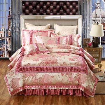 欧式贡缎提花床盖夹棉拉链可拆卸床裙款四件套婚庆六件套