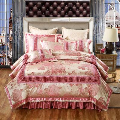 欧式贡缎提花床盖夹棉拉链可拆卸床裙款四件套婚庆六件套 标准(1.5m床)四件套 千岛丽人