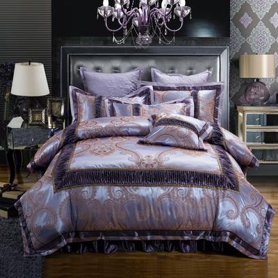欧式贡缎提花床盖夹棉拉链可拆卸床裙款四件套婚庆六件套 标准(1.5m床)四件套 雅韵轻舞