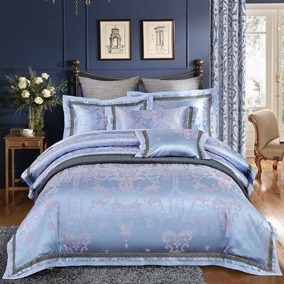 欧式天丝全棉宽边刺绣花织带贡缎提花四件套-纯棉 标准(1.5m床-1.8m床) 布里诺-钻蓝