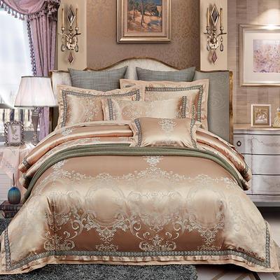 欧式天丝全棉宽边刺绣花织带贡缎提花四件套-纯棉 标准(1.5m床-1.8m床) 卡罗拉-驼色