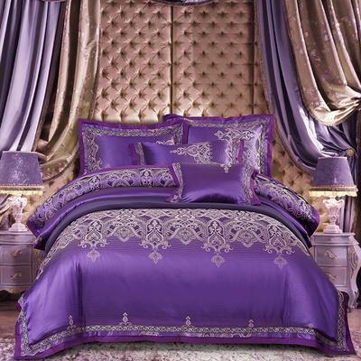 欧式天丝全棉宽边刺绣花织带贡缎提花四件套-纯棉 标准(1.5m床-1.8m床) 欧亚风情-紫色