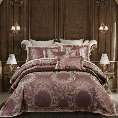 欧式天丝全棉宽边刺绣花织带贡缎提花四件套-纯棉 标准(1.5m床-1.8m床) 塞纳风情