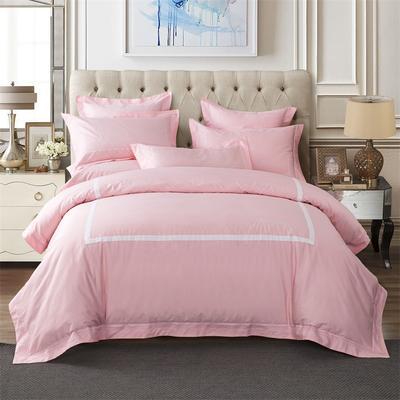 丽涵家纺  高端全棉纯色刺绣花四件套 简欧酒店风4件套 靠垫枕套60*60cm 0800粉色