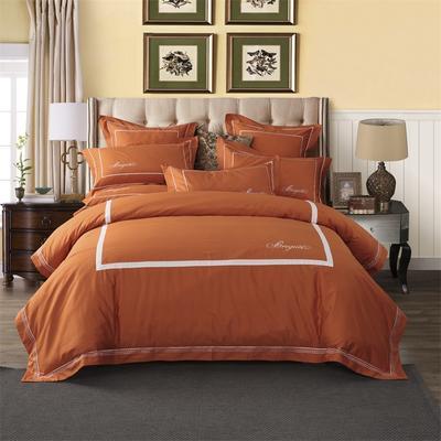 丽涵家纺  高端全棉纯色刺绣花四件套 简欧酒店风4件套 靠垫枕套60*60cm 800橘色