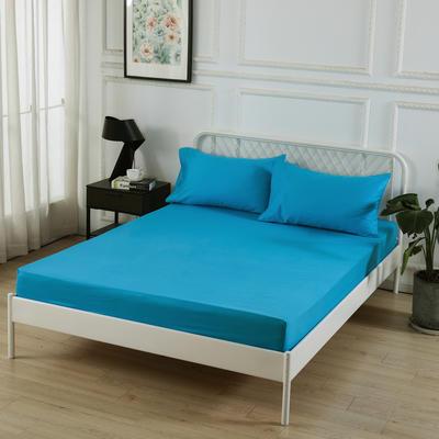 丽涵家纺  全棉13372纯色单品素色床笠 单件床笠 150cm*200cm 湖蓝