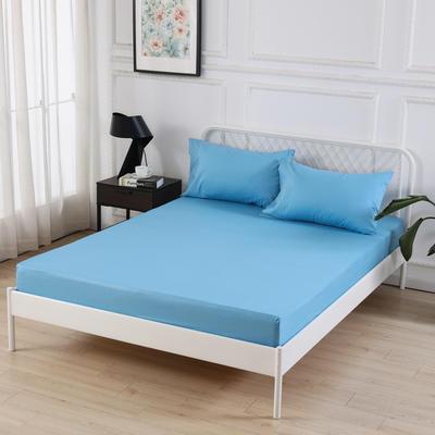 丽涵家纺  全棉13372纯色单品素色床笠 单件床笠 150cm*200cm 天蓝