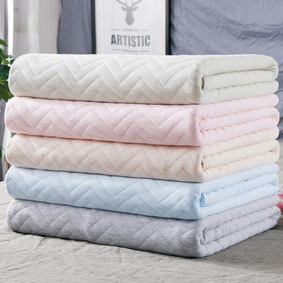 2018新品 天竺棉针织棉夏被子 全棉夏凉被 纯棉儿童空调被 1.0*1.5m 波纹粉色