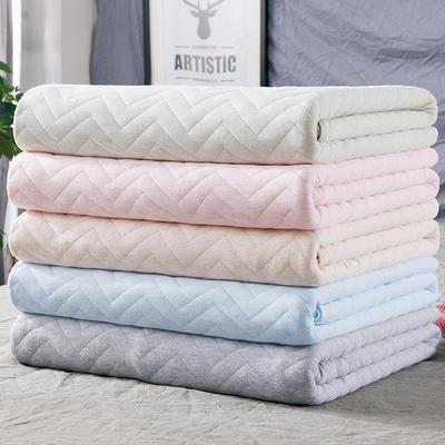 2018新品 天竺棉针织棉夏被子 全棉夏凉被 纯棉儿童空调被 1.5*2.0m 波纹黄色