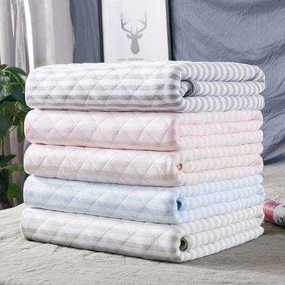 2018新品 天竺棉针织棉夏被子 全棉夏凉被 纯棉儿童空调被 1.5*2.0m 格子蓝条