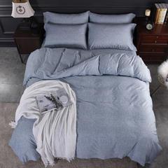 2018新款-全棉加厚臻品磨毛四件套 保暖纯棉生态磨毛 1.5m(5英尺)床 英伦时尚-天蓝