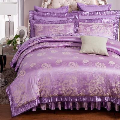 加棉提花贡缎全棉床裙四件套 纯棉婚庆床盖六件套 1.5m(5英尺)床 奥兰帝