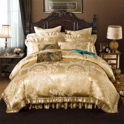 加棉提花贡缎全棉床裙四件套 纯棉婚庆床盖六件套 1.5m(5英尺)床 巴塞罗娜