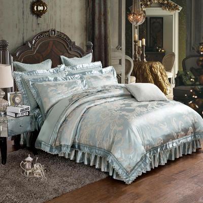 加棉提花贡缎全棉床裙四件套 纯棉婚庆床盖六件套 1.5m(5英尺)床 卡地罗