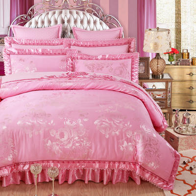 加棉提花贡缎全棉床裙四件套 纯棉婚庆床盖六件套 1.5m(5英尺)床 莱茵舞曲