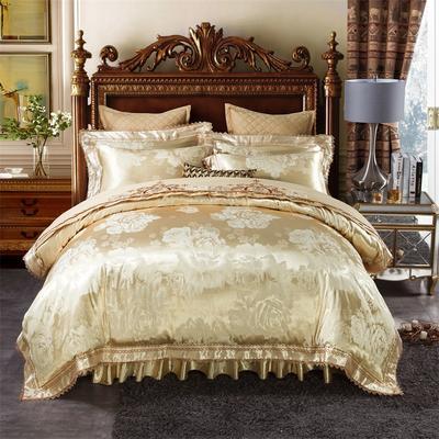 加棉提花贡缎全棉床裙四件套 纯棉婚庆床盖六件套 1.5m(5英尺)床 罗密欧—香槟驼