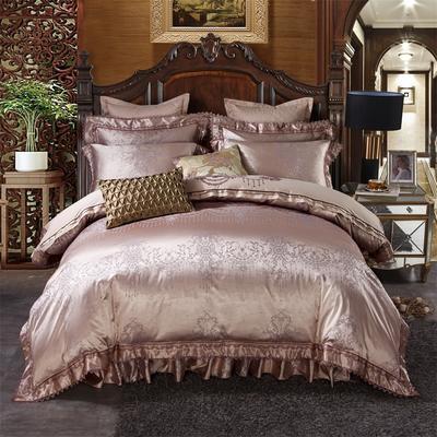 加棉提花贡缎全棉床裙四件套 纯棉婚庆床盖六件套 1.5m(5英尺)床 美丽传说