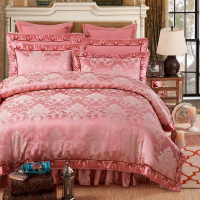 加棉提花贡缎全棉床裙四件套 纯棉婚庆床盖六件套 1.5m(5英尺)床 梦曼