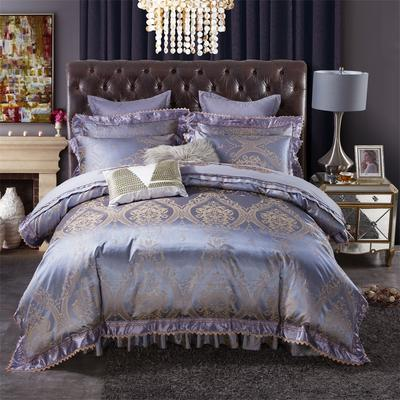加棉提花贡缎全棉床裙四件套 纯棉婚庆床盖六件套 1.5m(5英尺)床 摩登天空